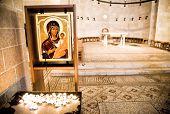 Virgin Mary holding baby Jesus. Tabgha. Church of the Multiplication. Israel