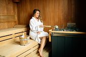 Beautiful Woman Resting In Sauna poster