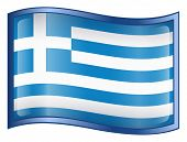 Greece Flag Icon. ( With Clipping Path )