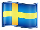 Sweden Flag Icon. ( With Clipping Path )