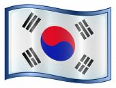 South Korea Flag Icon. ( With Clipping Path )