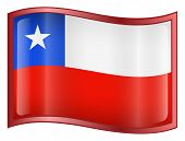 Chile Flag Icon. ( With Clipping Path )