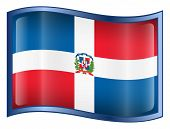 Dominican Republic Flag Icon. (With Clipping Path)