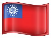 Myanmar Flag Icon. (With Clipping Path)