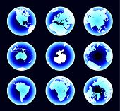 Blue World Continents (Vector)