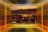 Digital City. Binary Tunnel And City At Night