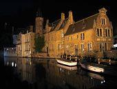 Bruges Boats At Night