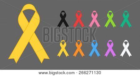 Colorful Awareness Ribbons Design Element