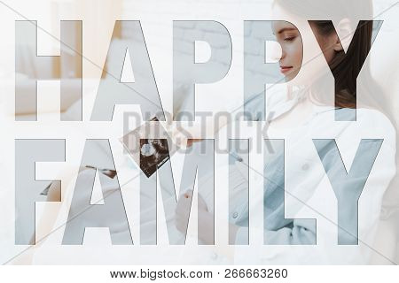 poster of Happy Family. Happy And Smiling Girl. Young Pregnant Mother. Girl Looking On Baby Ultrasound Results