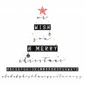 We Wish You A Merry Christmas. Handwritten Calligraphy Elegant Font. And Congratulations Happy New Y poster