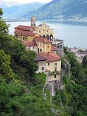 Madonna del Sasso, medieval monastery on the rock overlook lake Maggiore, Switzerland