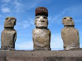 Ahu Tongariki. Moais of Easter Island