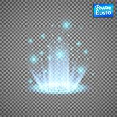 Magic Fantasy Portal. Futuristic Teleport. Light Effect. Blue Candles Rays Of A Night Scene With Spa poster