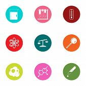 Chemical Compound Icons Set. Flat Set Of 9 Chemical Compound Icons For Web Isolated On White Backgro poster