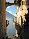 Romantic view to the famous Italian lake Como from Varenna town