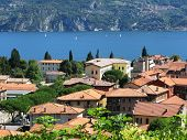 Menaggio town against famous Italian lake Como
