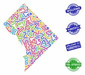 Welcome Collage Of Mosaic Map Of District Columbia And Scratched Seal Stamps. Vector Greeting Seals  poster