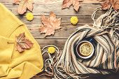 Autumn Fashion Seasonal Concept Yellow Warm Soft Sweater Cardigan Scandinavian Knitted Scarf Cup Hot poster