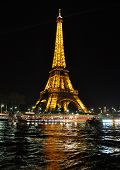 PARIS, FRANCE-  APRIL 4: Eiffel tower at night. The Eiffel tower is the most visited monument of Fra