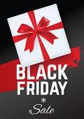 Black Friday Sale Banner. Black Friday. White Gift With Red Realistic Bow On The Black Background. R poster