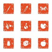Weather Climate Icons Set. Grunge Set Of 9 Weather Climate Icons For Web Isolated On White Backgroun poster