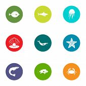 Underwater Life Icons Set. Flat Set Of 9 Underwater Life Icons For Web Isolated On White Background poster