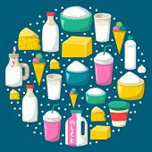 Vector Cartoon Illustration With Milk Products Background: Glass Bottle, Cottage, Cream, Cheese, Mil poster