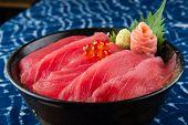 Tuna Sashimi With Rice. poster