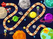 Space Board Game Vector Illustration. Rockets Ufo And Aliens In Space Board Game Strategy Kid Cartoo poster
