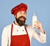 Nutritious Lactose Concept. Man With Beard Holds Glass Milk Bottle poster