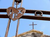 foto of inri  - Maletto iron crosses rusty of the monk passionisti and their christian symbol with acronym  - JPG