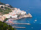 Sceneries aerial on the harbour and the homes of village Atrani