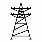 Electric Tower Icon. Simple Illustration Of Electric Tower Vector Icon For Web Design Isolated On Wh poster