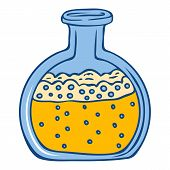 Yellow Chemical Flask Icon. Hand Drawn Illustration Of Yellow Chemical Flask Vector Icon For Web Des poster