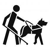 Blind Boy Dog Guide Icon. Simple Illustration Of Blind Boy Dog Guide Vector Icon For Web Design Isol poster