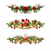 Christmas Festive Decoration Set. Holiday Image With Pine Branches, Flowers, Balls And Ribbon For De poster