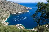 Fisheries in blue sea of Peloponnese, Greece
