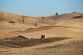 summer countryside of sicilian hinterland with farmhouse