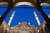 below view of Yeni Mosque from the porch, Istanbul - Turkey