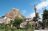 rock topped by kale or Hisar (citadel) as a colossus dominates Afyon, Turkey