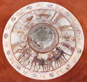 dome of the tomb of a thracian king decorated with frescoes such as a funeral feast and chariot race