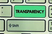 Word Writing Text Transparency. Business Concept For Condition Being Transparent Clear Obvious Evide poster