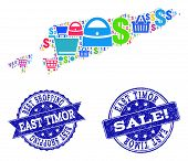 Best Shopping Collage Of Mosaic Map Of East Timor And Scratched Seal Stamps. Vector Blue Imprints Wi poster