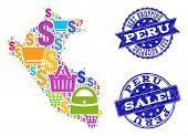 Best Shopping Collage Of Mosaic Map Of Peru And Scratched Stamps. Vector Blue Watermarks With Scratc poster