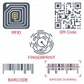 Rfid Tag, Qr Code, Fingerprint And Barcode Vector Flat Icon Set Isolated On A White Background. Radi poster