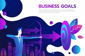 Successful Businessman Hold Arrow In Hand, Achievement Goal. Aim In Business Concept. Target Isolate poster