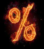 Постер, плакат: Горение пожара алфавит символ процент