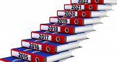 Folders Stacked In The Form Of Steps, Labeled The Years 2015-2021. Office Folders Stacked In The For poster