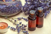 Lavender Body Care Products. Aromatherapy, Spa And Natural Healthcare Concept poster