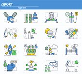 Vector Set Of Sport Icons In Thin Line Style. Volleyball, Lacrosse, Skiing, Fencing, Golf, Backpack. poster